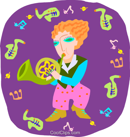 girl playing French horn Royalty Free Vector Clip Art illustration peop4036
