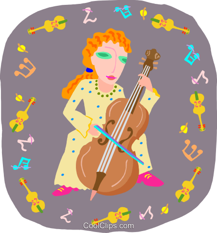 girl playing bass Royalty Free Vector Clip Art illustration peop4037