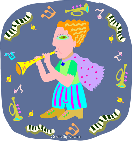 girl playing clarinet Royalty Free Vector Clip Art illustration peop4038