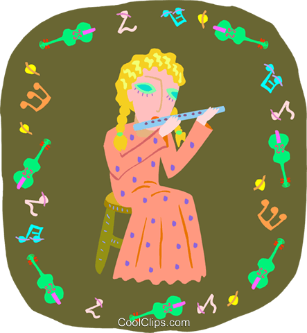 girl playing flute Royalty Free Vector Clip Art illustration peop4039