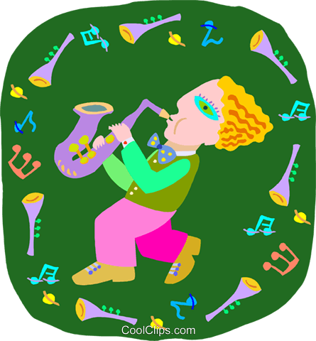 boy playing saxophone Royalty Free Vector Clip Art illustration peop4040