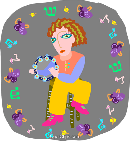 girl playing tambourine Royalty Free Vector Clip Art illustration peop4041