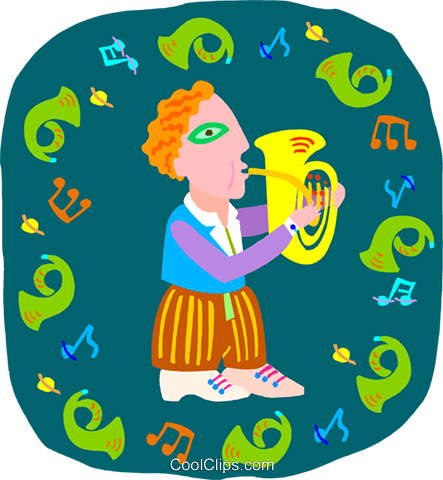 boy playing tuba Royalty Free Vector Clip Art illustration peop4042