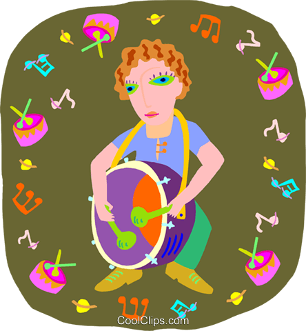 girl playing drum Royalty Free Vector Clip Art illustration peop4043