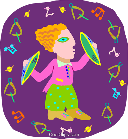 girl playing cymbal Royalty Free Vector Clip Art illustration peop4044