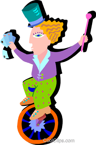 girl on unicycle Royalty Free Vector Clip Art illustration peop4045