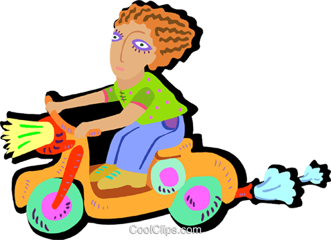 young child riding scooter Royalty Free Vector Clip Art illustration peop4046