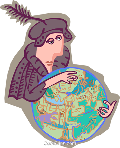 Columbus with a globe Royalty Free Vector Clip Art illustration peop4050