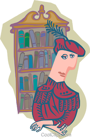 navigator with bookcase Royalty Free Vector Clip Art illustration peop4053