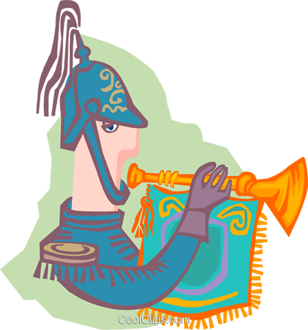 trumpet announcer Royalty Free Vector Clip Art illustration peop4054