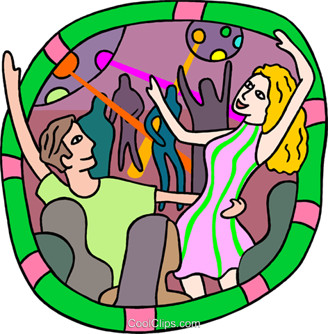 People dancing at the discotheque Royalty Free Vector Clip Art illustration peop4055