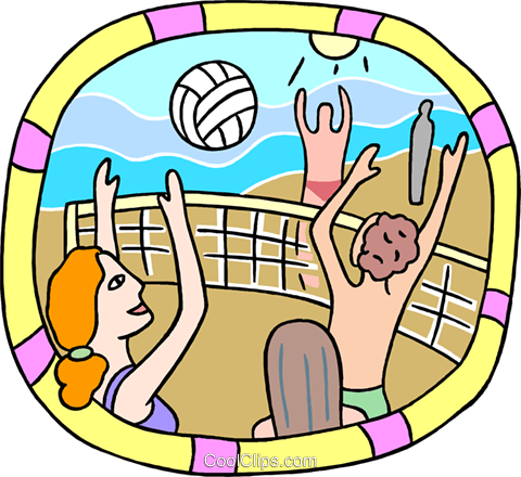People playing a Volleyball game Royalty Free Vector Clip Art illustration peop4056