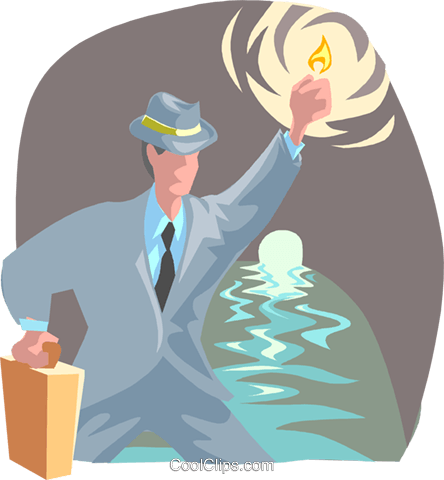 business man lighting way with match Royalty Free Vector Clip Art illustration peop4059