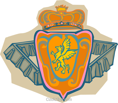 crown and shield Royalty Free Vector Clip Art illustration trav0172