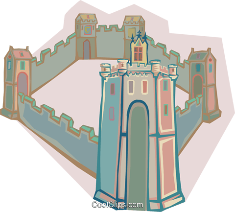 European fortress Royalty Free Vector Clip Art illustration arch0570
