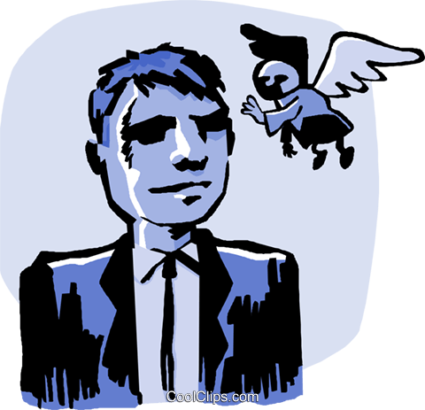 business man angel advice Royalty Free Vector Clip Art illustration peop4063