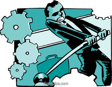 business man adjusting cogs of machine Royalty Free Vector Clip Art illustration peop4066