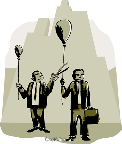 business man snipping other balloon Royalty Free Vector Clip Art illustration peop4075