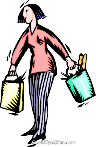 woman with groceries Royalty Free Vector Clip Art illustration peop4078