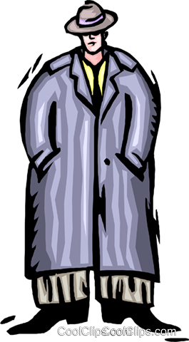 man in large coat Royalty Free Vector Clip Art illustration peop4079