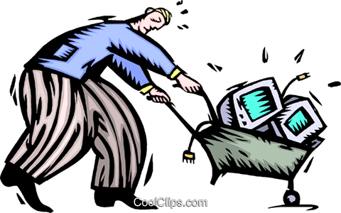 man with monitors in wheelbarrow Royalty Free Vector Clip Art illustration peop4080