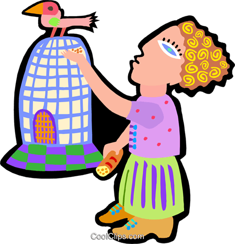 woman with bird on cage Royalty Free Vector Clip Art illustration peop4082