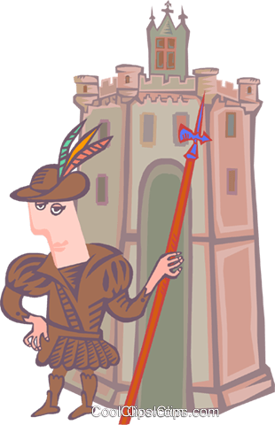 explorer with castle Royalty Free Vector Clip Art illustration peop4088