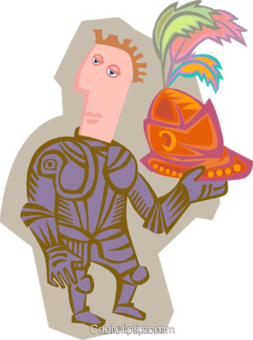 knight with helmet Royalty Free Vector Clip Art illustration peop4090