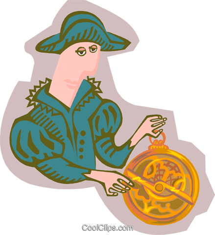 explorer with astrolabe Royalty Free Vector Clip Art illustration peop4091
