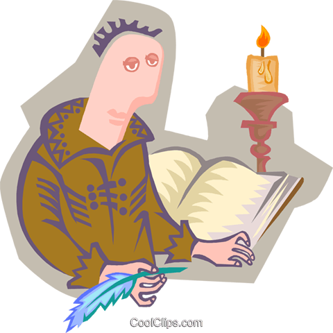 monk with book by candlelight Royalty Free Vector Clip Art illustration peop4092