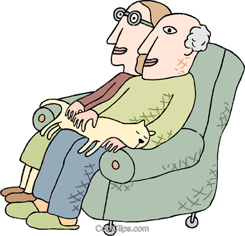 couple seated in armchair with cat Royalty Free Vector Clip Art illustration peop4093