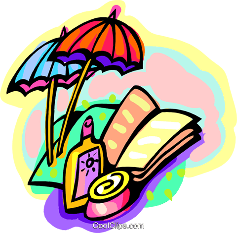 book, sunscreen, umbrellas Royalty Free Vector Clip Art illustration trav0173