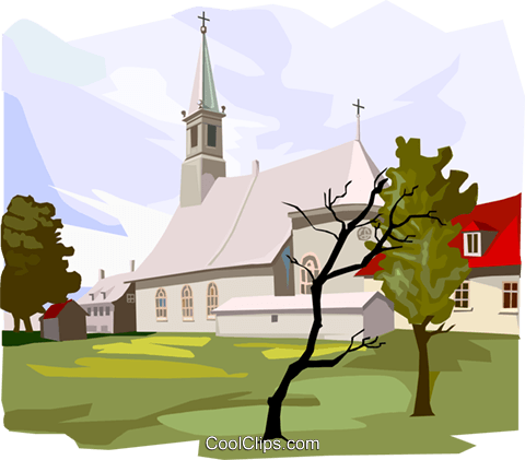 Traditional Church Royalty Free Vector Clip Art illustration arch0571