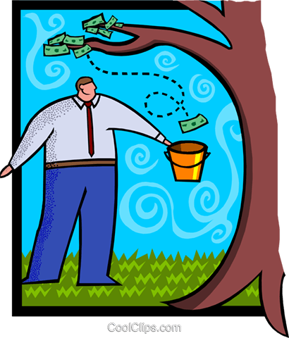 business / money doesn't grow on trees Royalty Free Vector Clip Art illustration busi1964