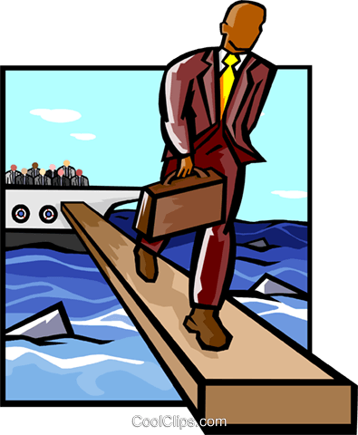walking the plank Royalty Free Vector Clip Art illustration busi1972