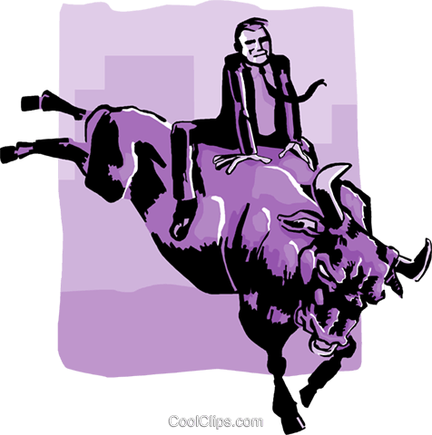 business / riding a bull market Royalty Free Vector Clip Art illustration busi1976