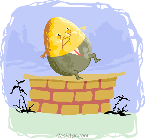 humpty dumpty sat on the wall Royalty Free Vector Clip Art illustration educ0028
