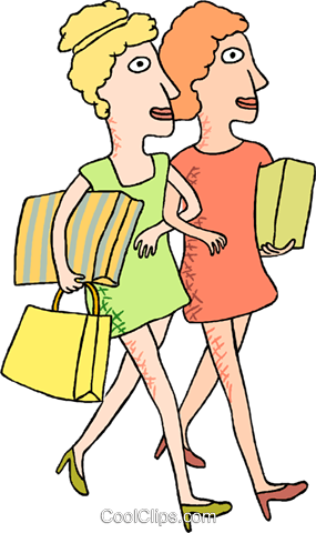 woman with shopping packages Royalty Free Vector Clip Art illustration peop4102