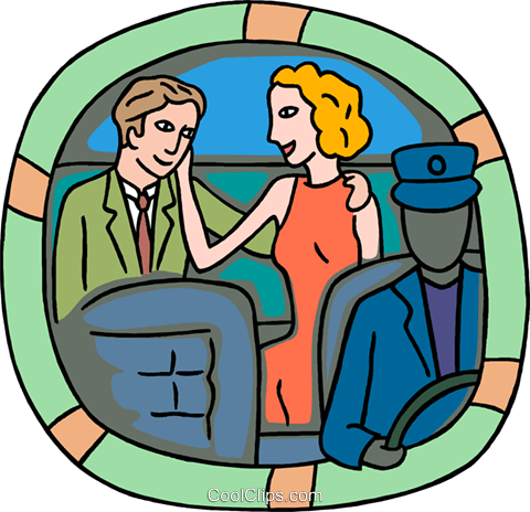 couple in backseat of limo Royalty Free Vector Clip Art illustration peop4107