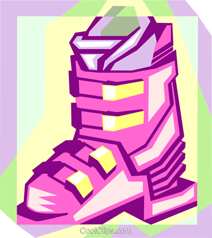 ski boot Royalty Free Vector Clip Art illustration spor0497