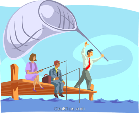 Fishing for Prospects Royalty Free Vector Clip Art illustration busi2054