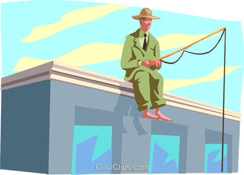 Fishing for Prospects Royalty Free Vector Clip Art illustration busi2057