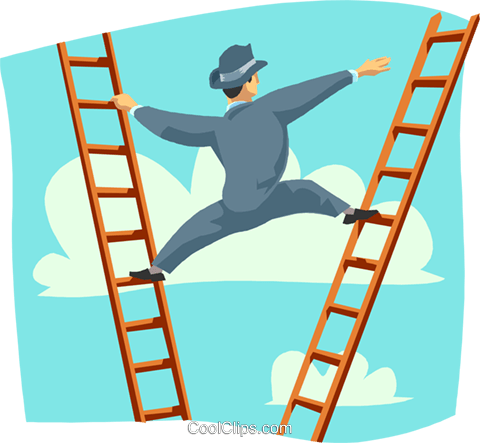Climbing the corporate ladder Royalty Free Vector Clip Art illustration busi2058