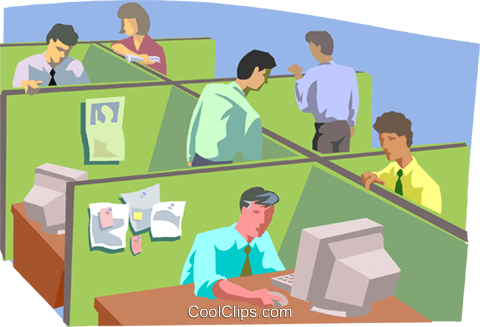 People working in office setting Royalty Free Vector Clip Art illustration busi2066