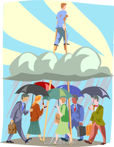 Walking above the clouds Royalty Free Vector Clip Art illustration busi2068