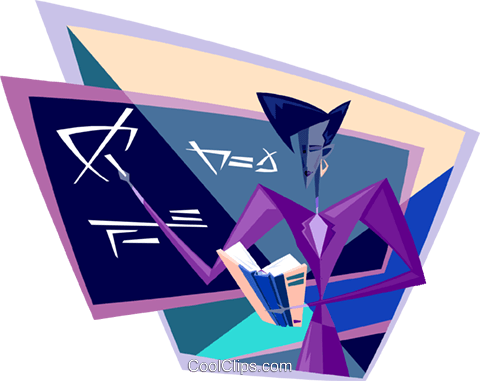teacher working at the black board Royalty Free Vector Clip Art illustration busi2071