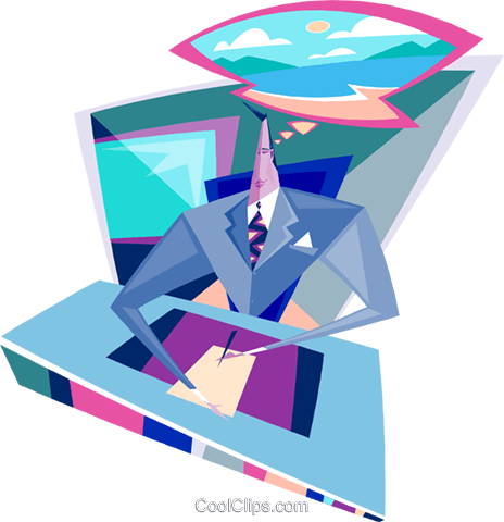 businessman sitting at his desk Royalty Free Vector Clip Art illustration busi2073