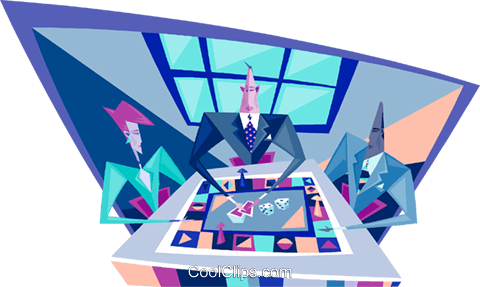 business people playing a game Royalty Free Vector Clip Art illustration busi2077