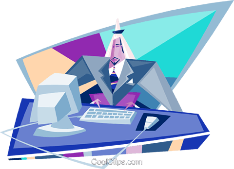 businessman working at the computer Royalty Free Vector Clip Art illustration busi2085