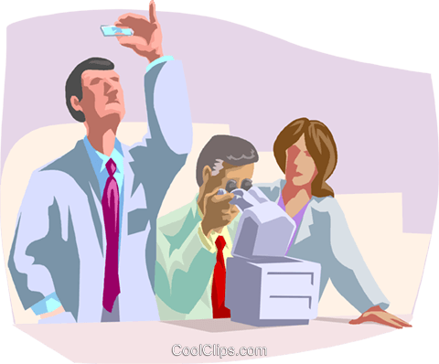 Researchers working together Royalty Free Vector Clip Art illustration busi2097